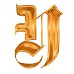 altın deseni gothic harfi y — Stok fotoğraf