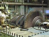 Steam turbine during repair, night scene — Stock Photo