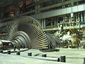 Steam turbine during repair, night scene — Stock fotografie