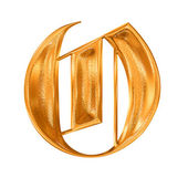 Golden pattern gothic letter O — Stock Photo