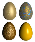 Four golden patterned easter eggs — Stock Photo