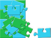 Blue and green puzzle concept — Stock Photo
