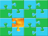Green and blue puzzle surface — Stock Photo