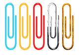 Paper clips isolated over white — Stock Photo