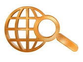 Abstract golden global search icon — Stock Photo