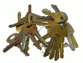 Old rusty keys isolated — Stock Photo