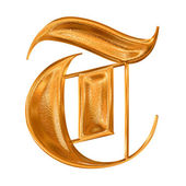 Golden pattern gothic letter T — Stock Photo
