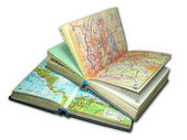 Two old map atlas books isolated — Stock Photo