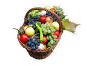 Harvest fruits and vegetables in a box — Stock Photo