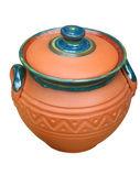 Ornated clay ceramic pattern pot — Stock Photo