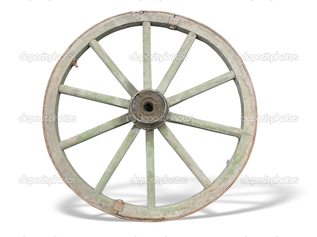 Antique Cart Wheel made of wood and iron-lined, isolated over white background — Stock Photo #2275803