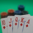 Poker Hand - Diamonds Straight Flush — Stock Photo
