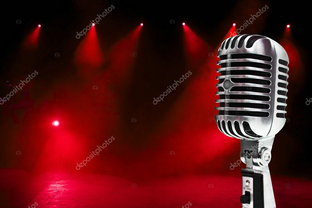 A retro, 60's style,metallic microphone on a colorful background. — Stock Photo #2312466