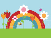 Rainbow flower garden — Stock Vector