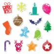 Retro christmas stickers - Stock Vector