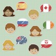 Faces and flag stickers — Vector de stock