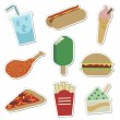 Fast food stickers — Stock Vector