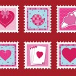 Valentine stamps - Imagens vectoriais em stock