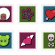 Stock vektor: Kids emo stamps
