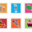 Kids party stamps — Vector de stock