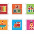 Kids toy stamps — Vector de stock