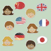 Faces and flag stickers — Stock Vector