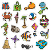 Beach stickers — Stock Vector