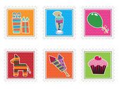 Kids party stamps — Stock Vector