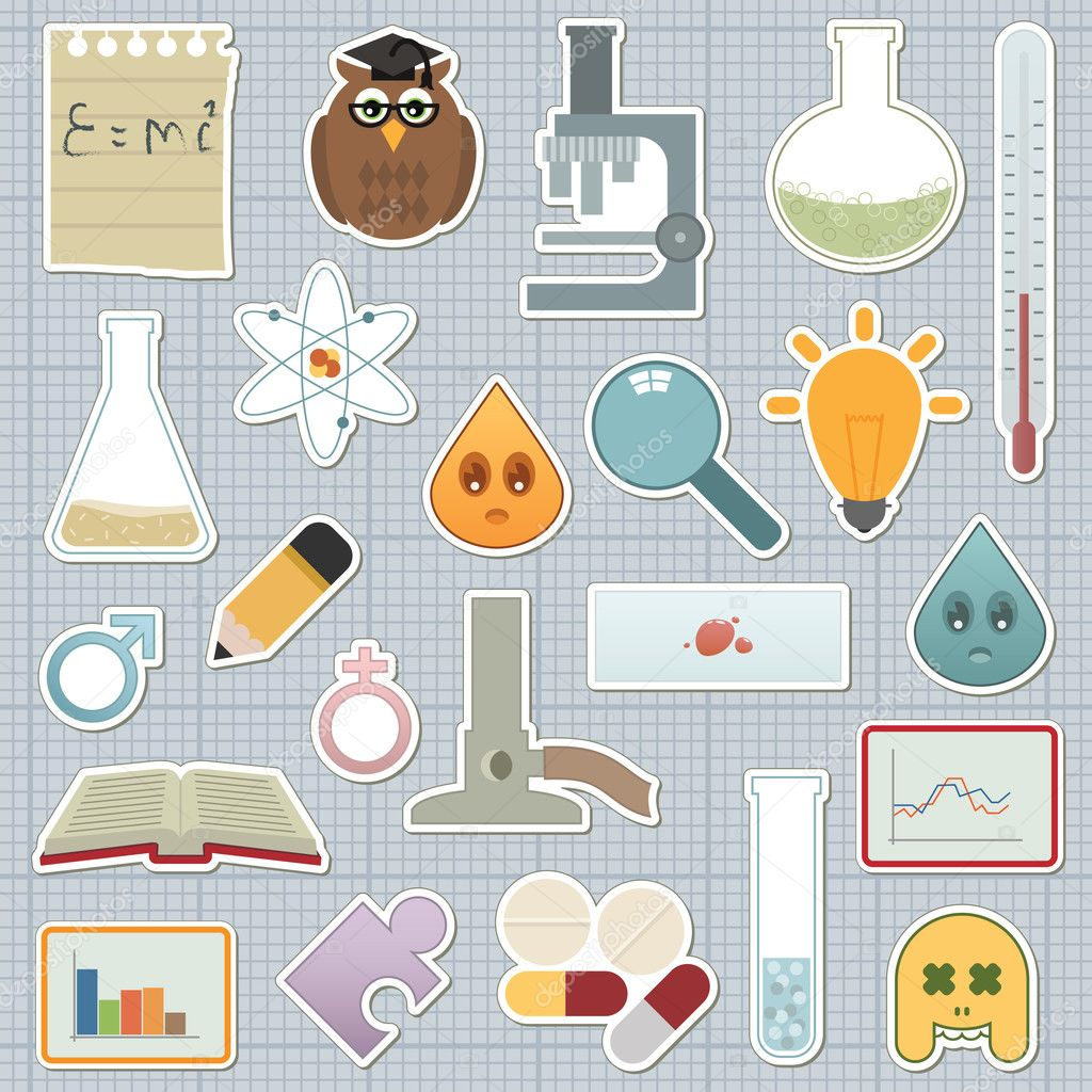 Collection of science related stickers on graph paper — Stock Vector #2076668