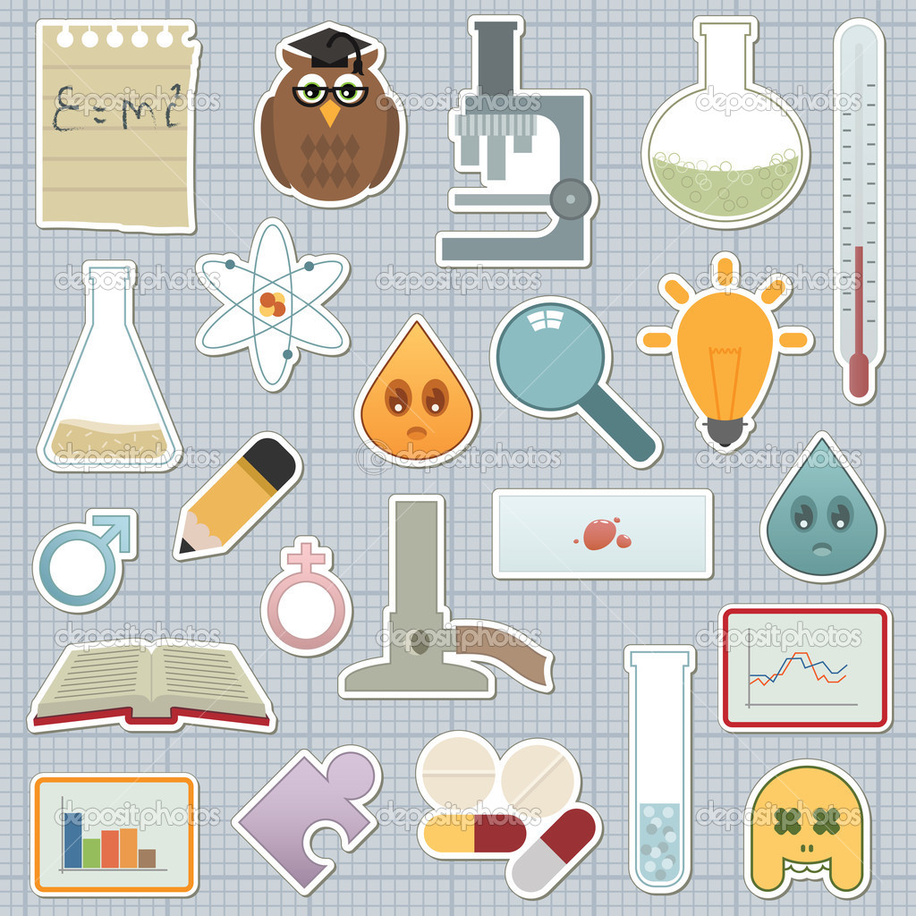 Collection of science related stickers on graph paper   #2076668