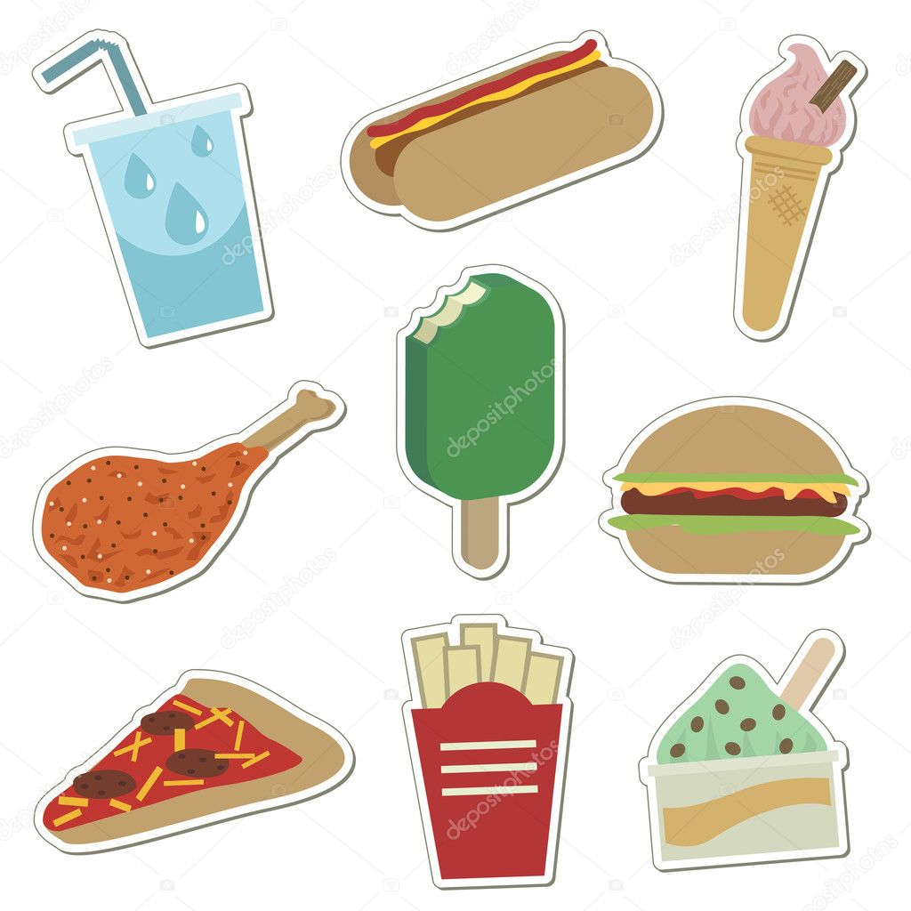 Collection of convenience food stickers isolated on white — Stock Vector #2076738