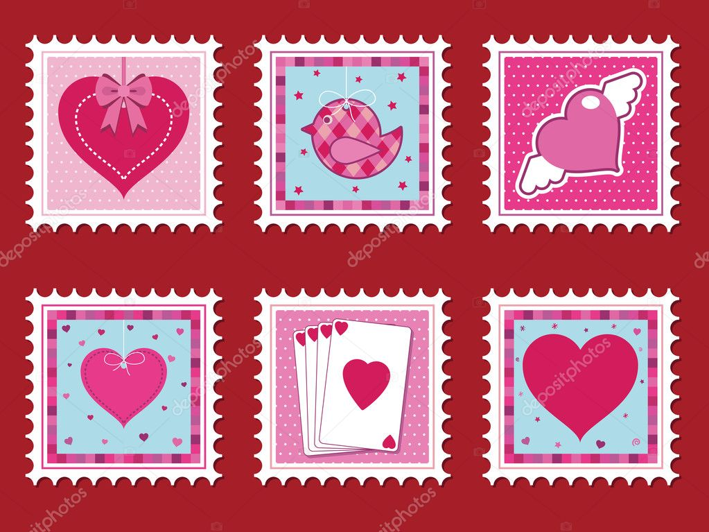 Collection of valentine stamps with love hearts — Imagen vectorial #2076884