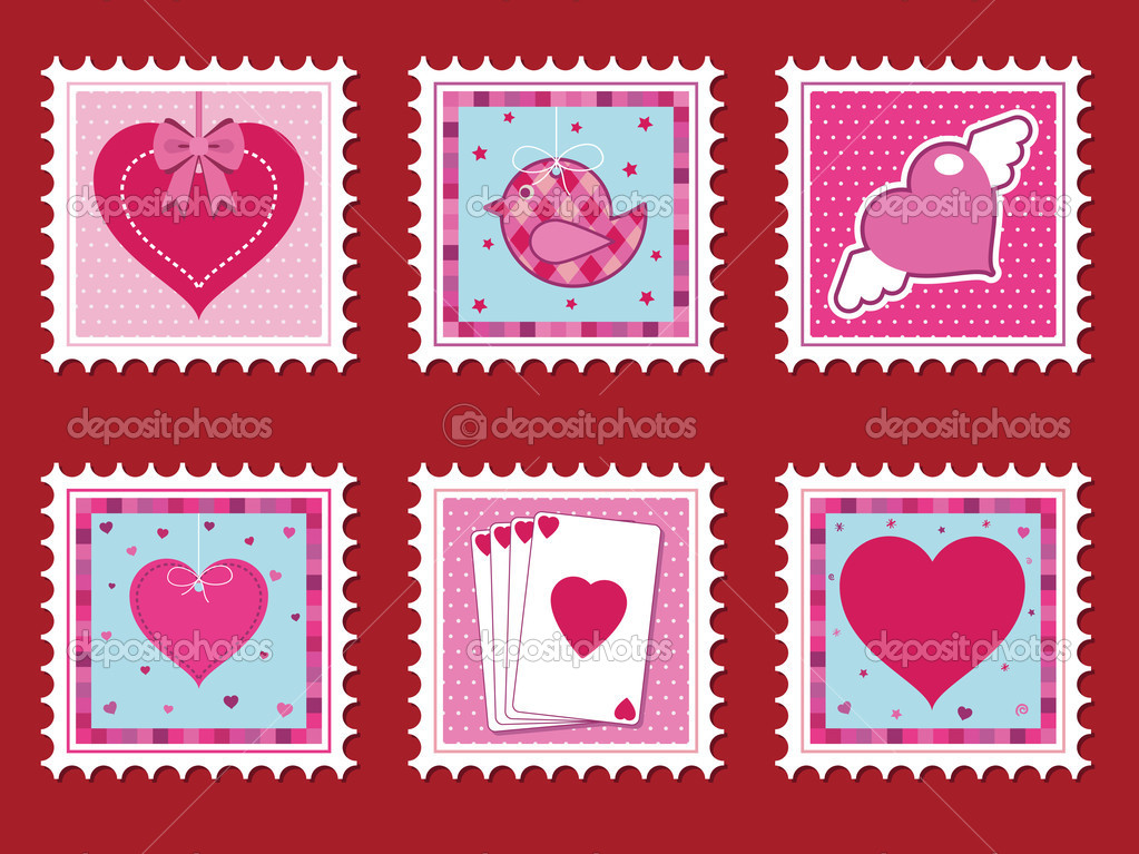 Collection of valentine stamps with love hearts — Vektorgrafik #2076884