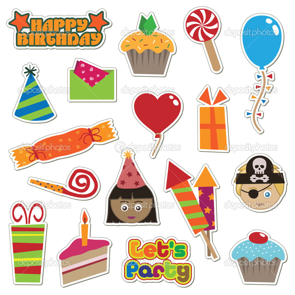 Collection of colorful party stickers — Stock Vector #2076927
