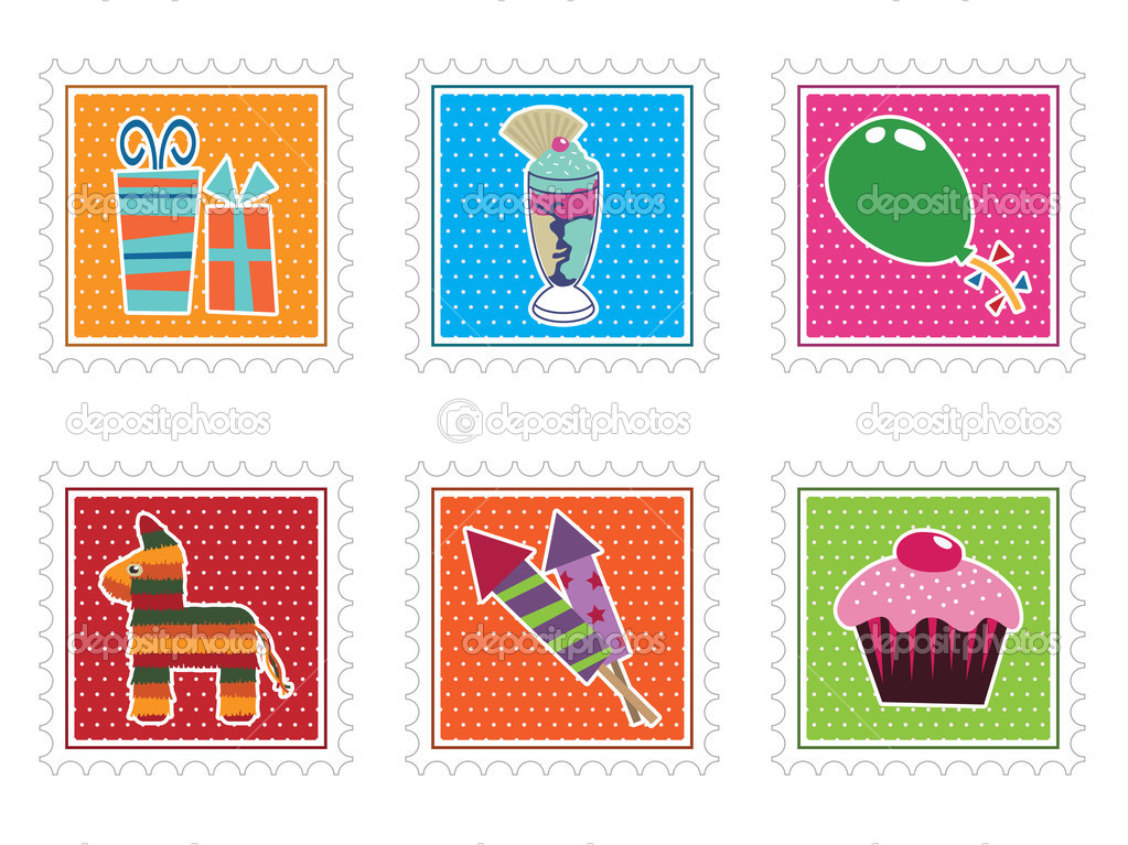 Collection of kids party stamps isolated on white — Stock Vector #2077069