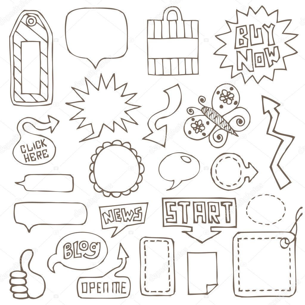 Collection of hand drawn design elements, tags, buttons, speech bubbles, arrows — Stock Vector #2077121