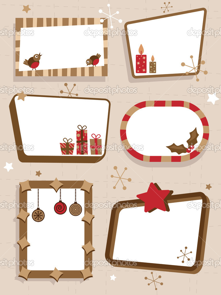 Stylish retro christmas signs with space for text — Stock Vector #2077535