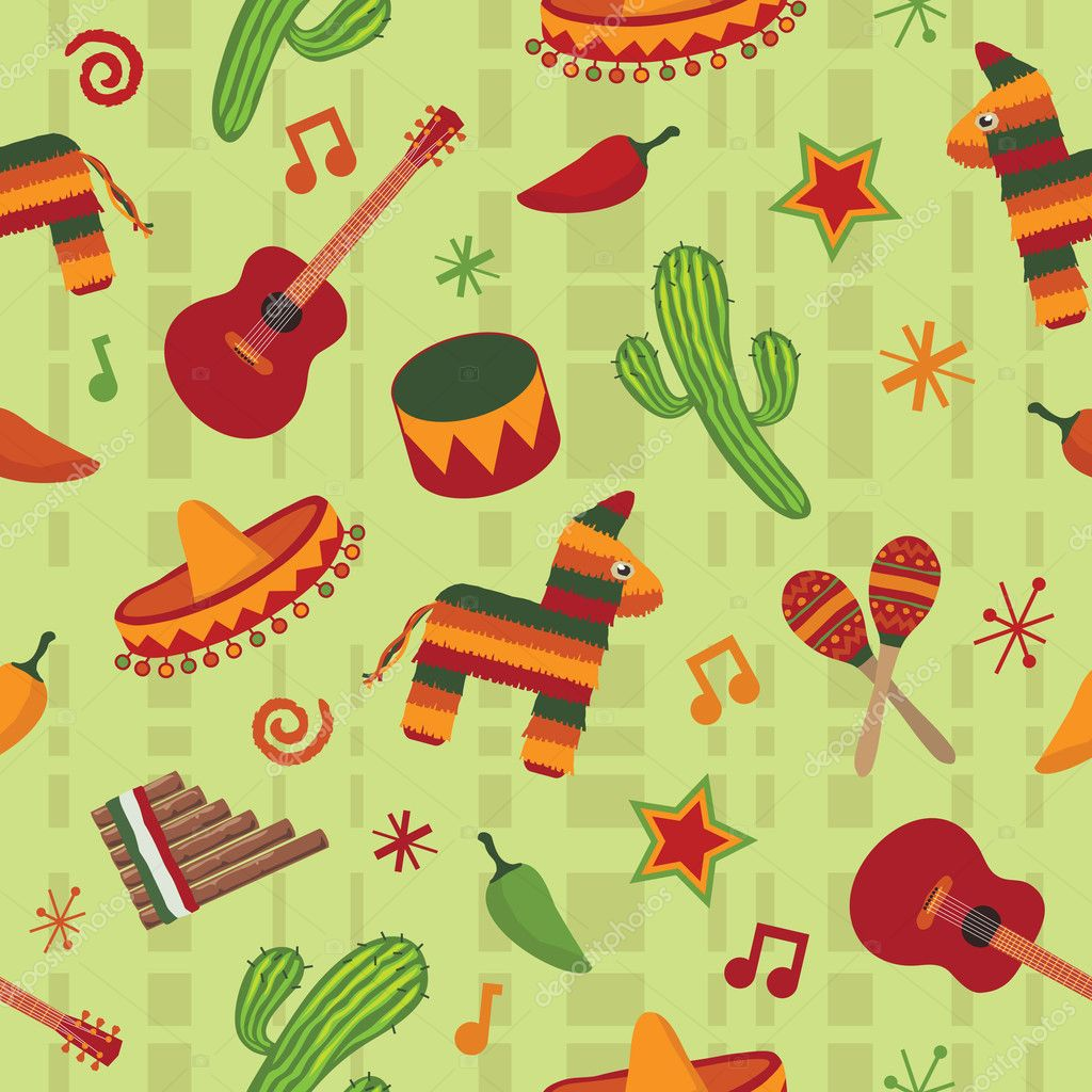 Seamless mexican pattern wallpaper with clipping mask — Stock Vector #2139431