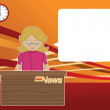 Stock Vector: Female news reader