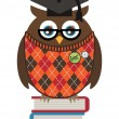 Stock Vector: Owl professor