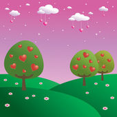 Trees of hearts — Vector de stock