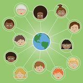 Netwerken kinderen over de hele wereld — Stockvector
