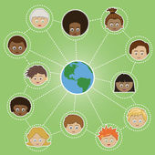 Networking kids around the world — 图库矢量图片