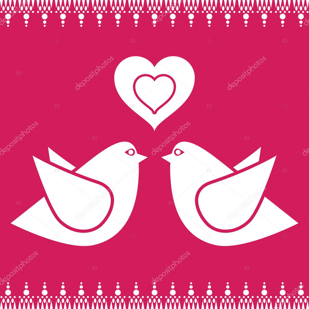 Pink background with birds and heart decorations — Vettoriali Stock  #2142971