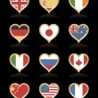Heart flags — Vector de stock