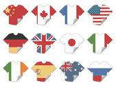 Tshirt flag stickers — Stock Vector