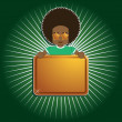 Afro boy holding sign — Stock Vector