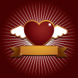Winged heart with banner — Vector de stock