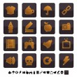 set de iconos de negros y oro — Vector de stock