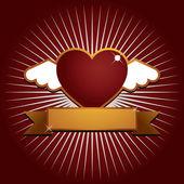 крылатого сердца с баннером — Cтоковый вектор